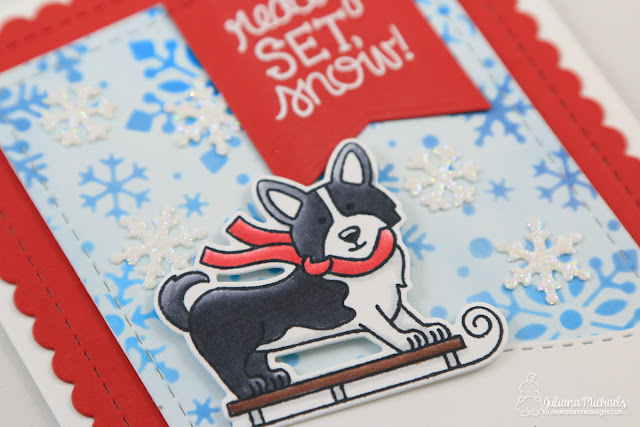 Ready Set Snow Card by Juliana Michaels featuring Newton's Nook Designs Winter Woofs Stamp Set