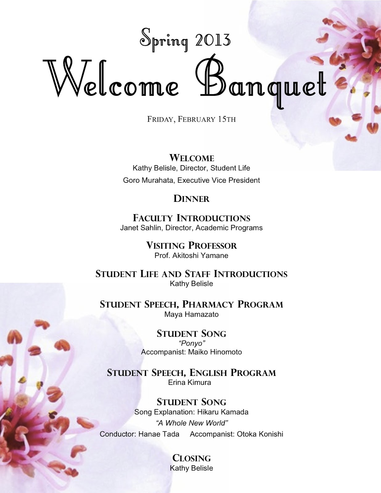 Irams Banquet Hall Family Reunion Banquet Program Outline