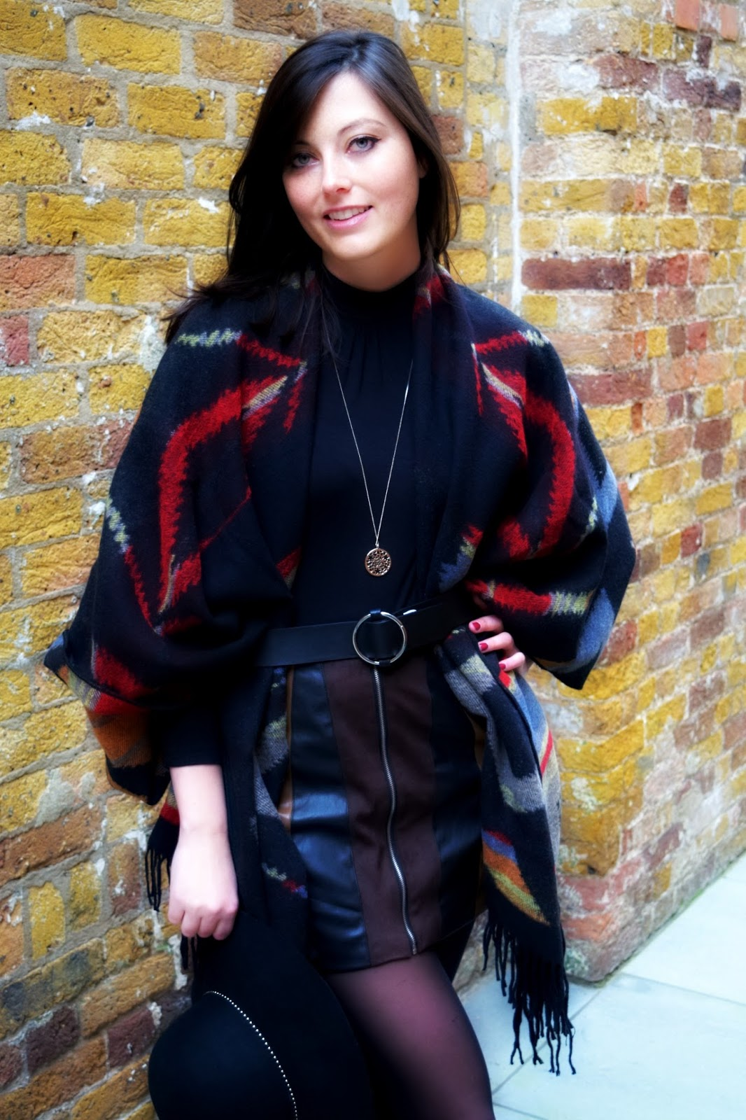 fashion outfit of the day post with a cosy poncho
