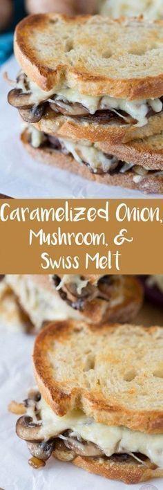 CARAMELIZED ONION, MUSHROOM, AND SWISS MELT