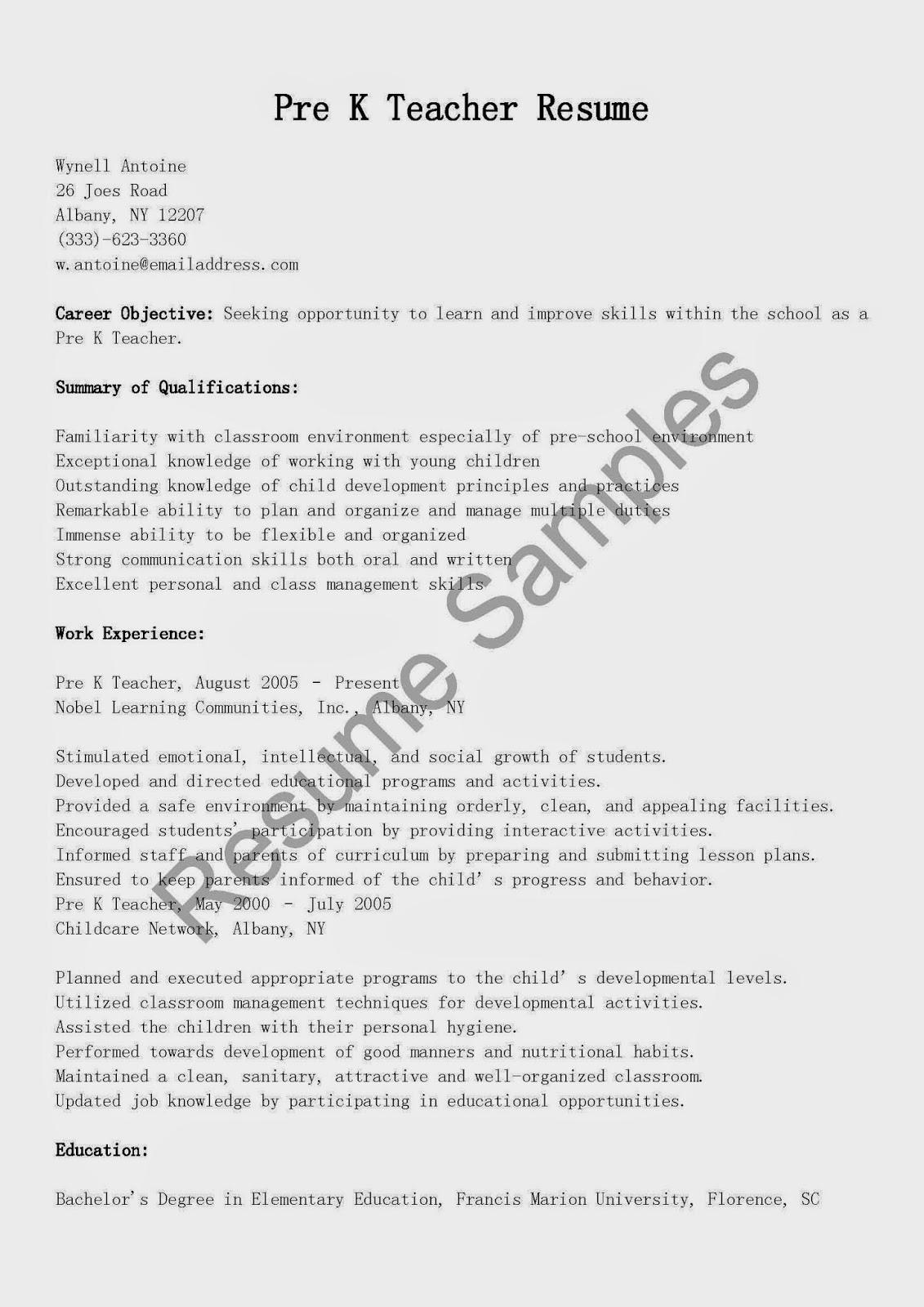 Resume samples pre k teacher resume sample for Pre primary school teacher resume sample