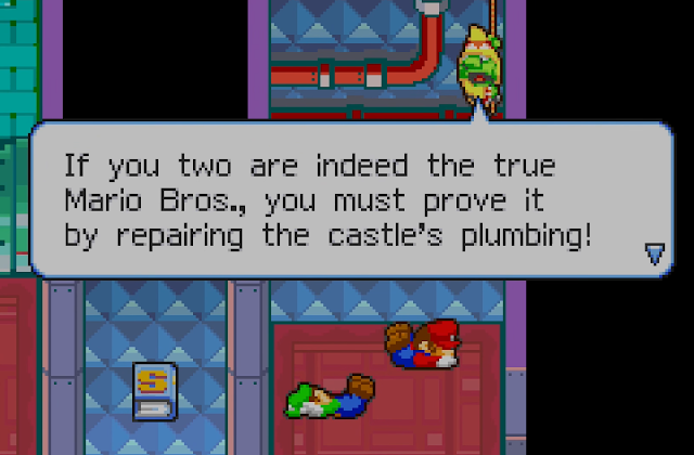 Mario & Luigi Superstar Saga Beanbean Castle Sewers repair the castle's plumbing plumbers fix pipes clogs