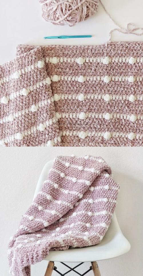 Crochet Velvet Dotted Lines Blanket - Free Pattern