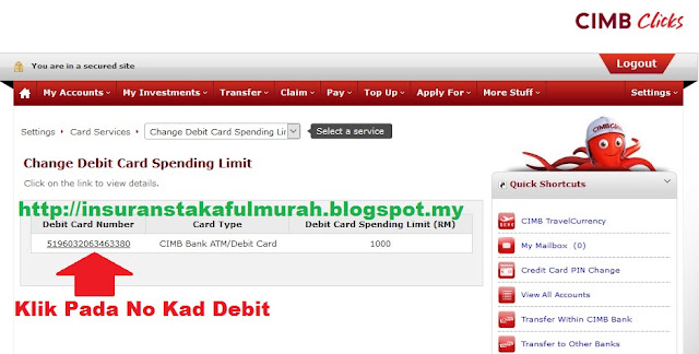 Cara Tukar Limit Debit Card Cimb cimbclicks