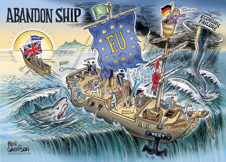 Abandonar o navio! Para muitos britânicos, e europeus continentais também, a União Europeia entrou numa corrida louca para o fundo dos abismos.
