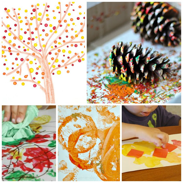 Fall Process Art For Kids.  Great ideas for autumn painting, drawing, collage, and stamping.  Choices for toddlers, preschool, kindergarten, and elementary kids.