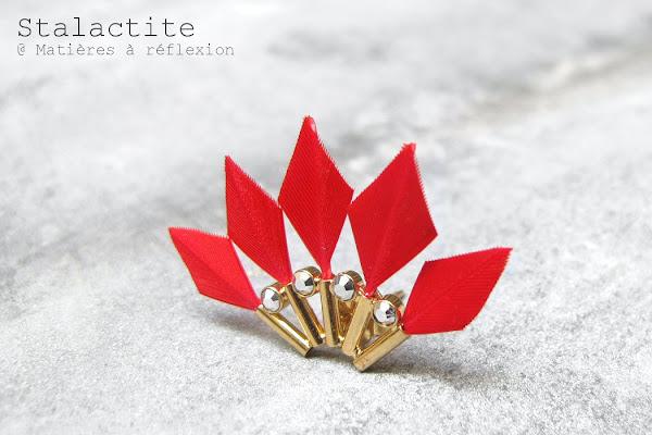 Boucle plume rouge Stalactite bijoux