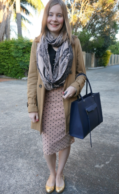 Autumn Brisbane Business Casual print mixing office outfit pastel pink polka dot pencil skirt