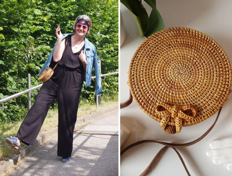 Runde Boxy-Bags aus Stroh und mondändes Bandana-Hairstyling
