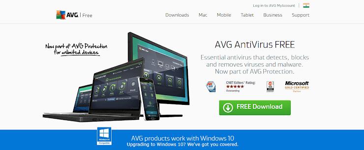 Free edition of AVG antivirus app