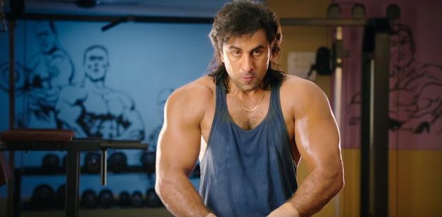 Ranbir Kapoor as Sanjay Dutt, Bodybuilding, Sanju, Rajkumar Hirani