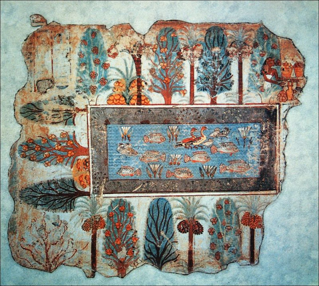 Pond in a garden. Fragment from the Tomb of Nebamun