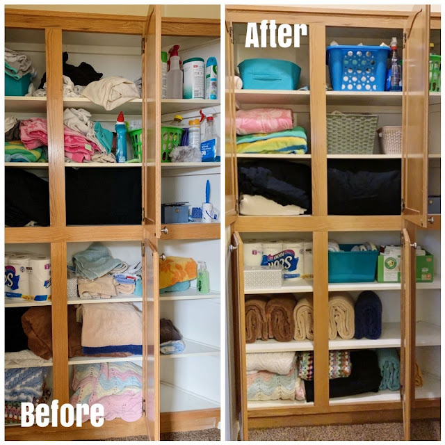 Linen closet organizing ideas- Before and After