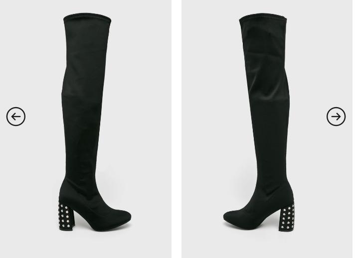 Truffle Collection - Cizme cizme negre lungi elegante peste genunchi piele eco intoarsa