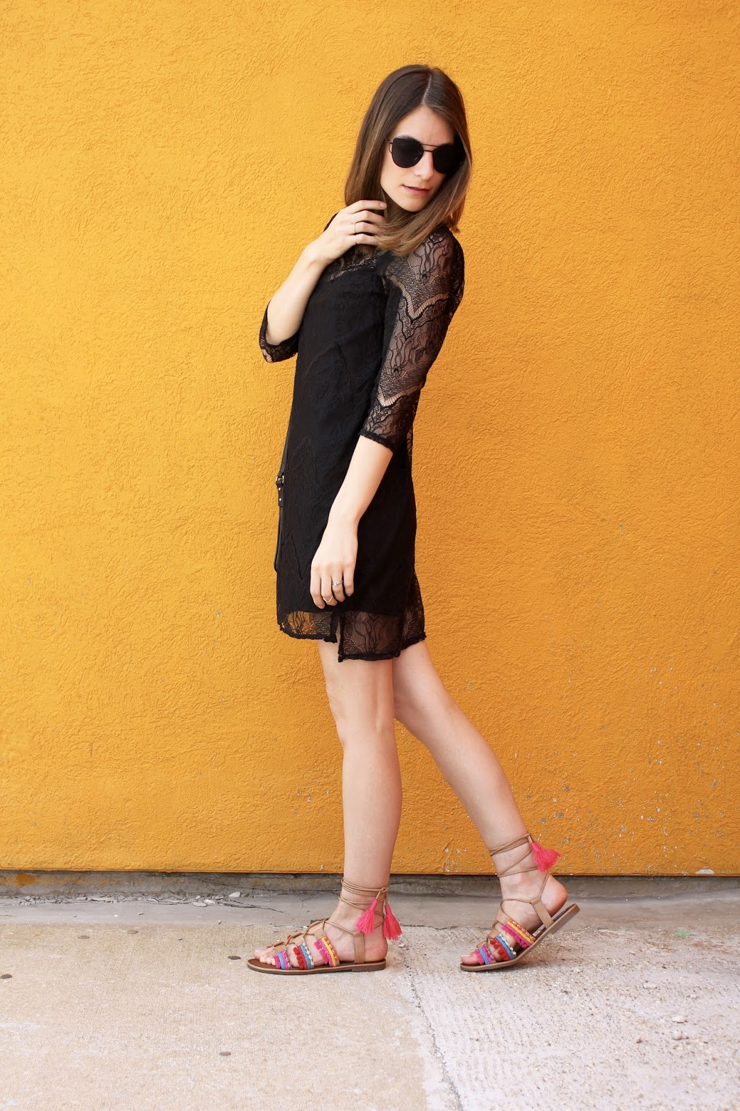 Black Dress and Neon Gladiators