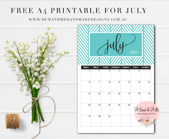 Free Printable Monthly Calendar - Turquoise Herringbone by Mum and Me Handmade Designs