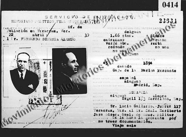Carné de refugiado político de Fernando Dicenta Alonso (Veracruz, México, 1939)