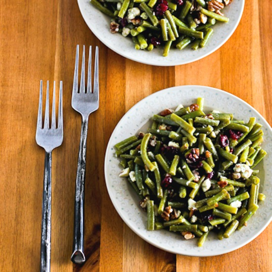 Thanksgiving Green Bean Salad with Blue Cheese, Dried Cranberries, and Pecans [found on KalynsKitchen.com]