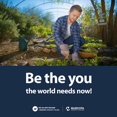 Poster featuring a young man working in a garden.  Text: Be the You the World Needs Now.