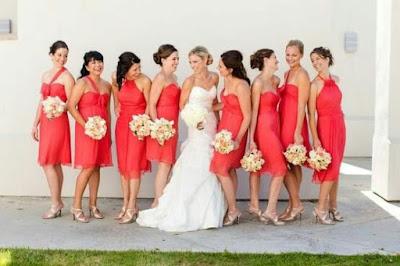 Bridesmaid dresses guava color