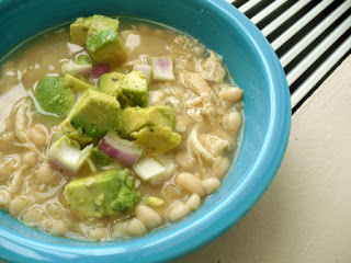 White Chicken Chili with Avocado Salsa by SneakySpoons