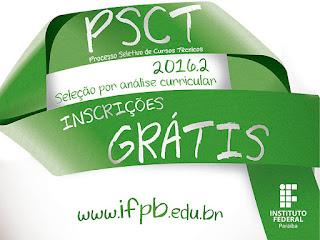 PSCT abre inscrições até 15 de julho para 350 vagas no IFPB