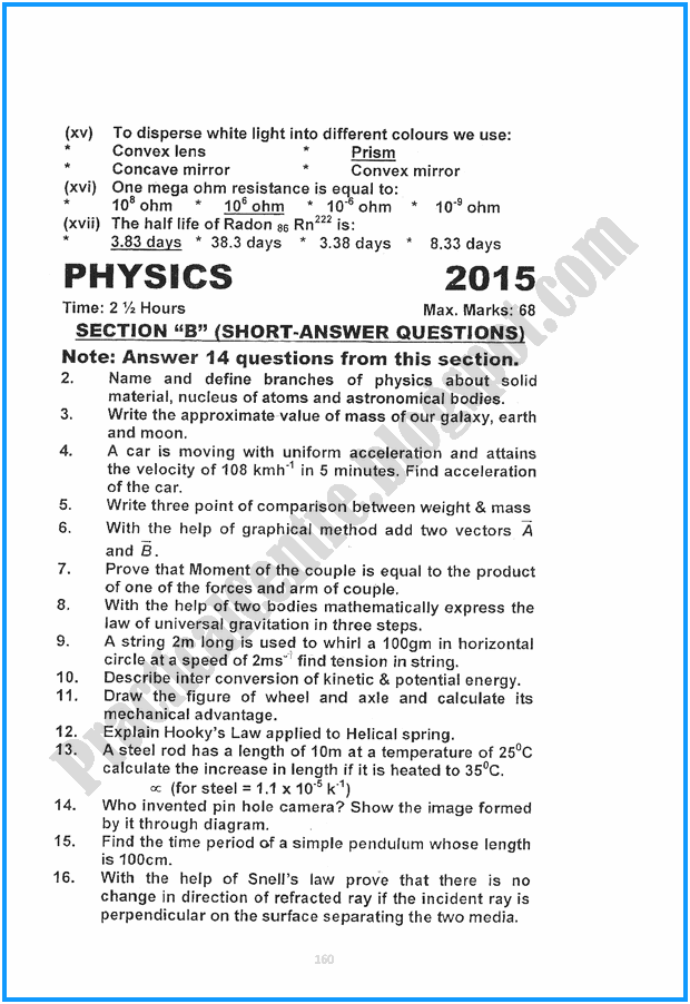 10th-physics-five-year-paper-2015