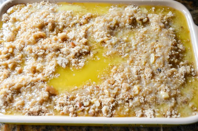 Pumpkin Cobbler recipe drizzled with butter from Serena Bakes Simply From Scratch.