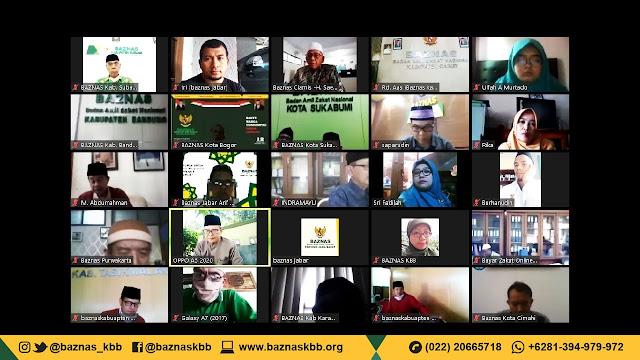 Koordinasi via Zoom, Baznas Jabar Salurkan 2150 Paket Darurat Melalui Baznas Kota Kabupaten