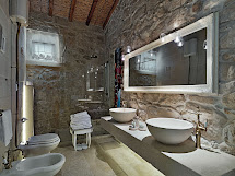 Rustic Bathroom with Stone Walls