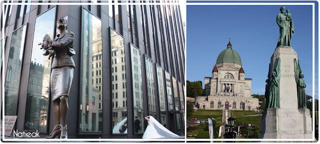 la statue de Marc A J Fortier sur la place de la Basilique Notre Dame et à droite l'Oratoire Saint Joseph