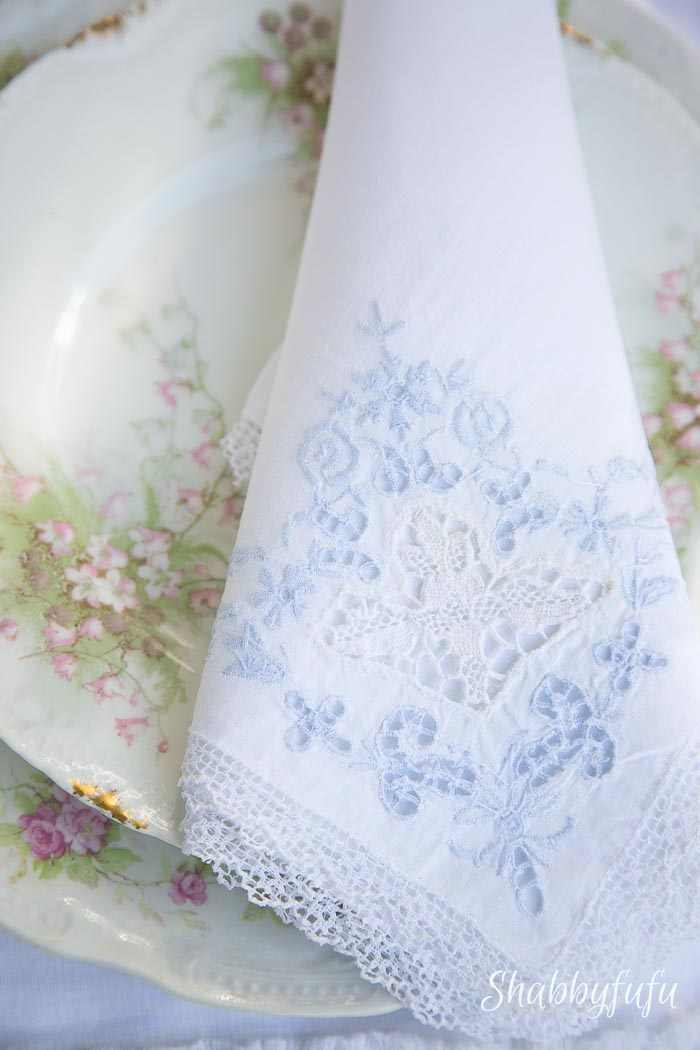 french lace napkin limoges pink plates
