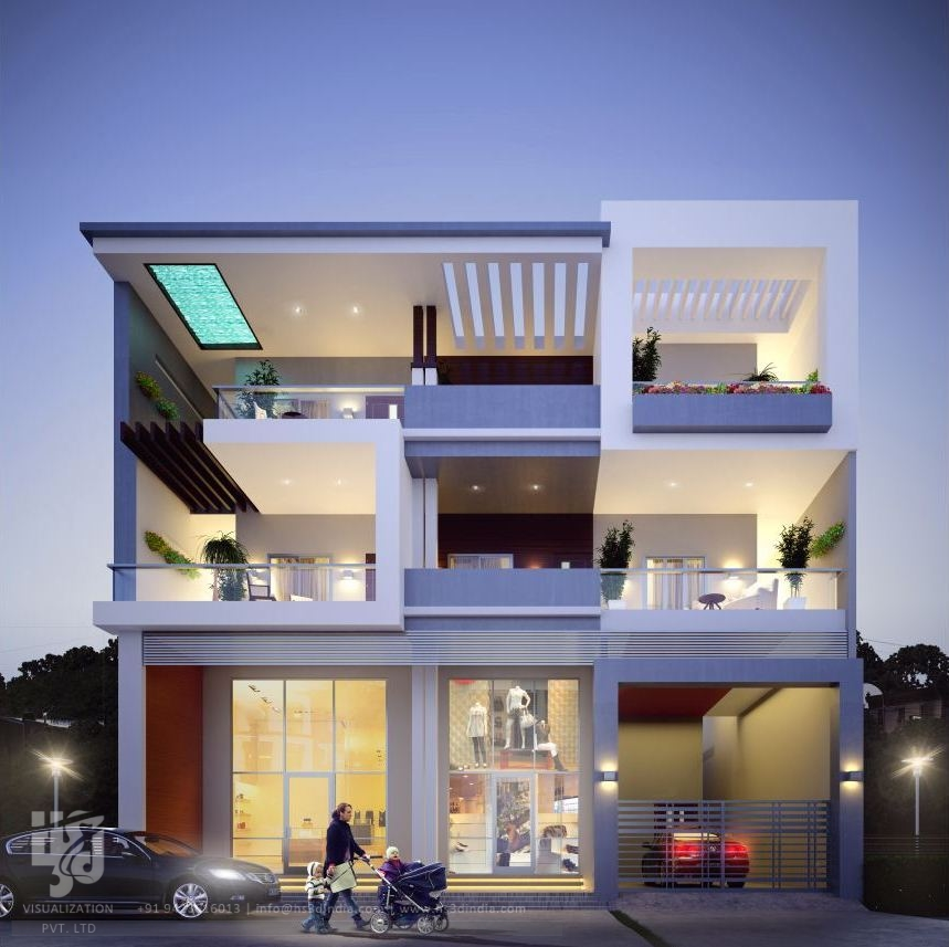 Bungalow 3d Rendering Contemporary Bungalow Rendering: 3D ARCHITECTURAL VISUALIZATION: 3D EXTERIOR NIGHT RENDERING