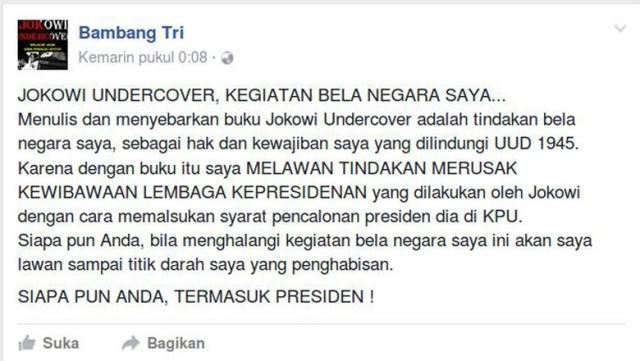 Bambang Tri, Penulis Buku 'Jokowi Undercover' Akhirnya Ditangkap Polisi