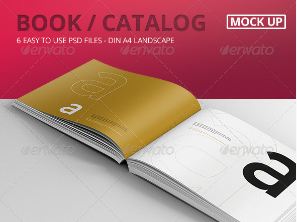 Download Book Catalog PSD Mock-Ups Landscape Free