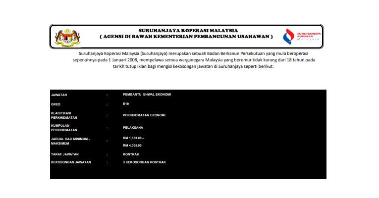 Jawatan Kosong di Suruhanjaya Koperasi Malaysia 2019