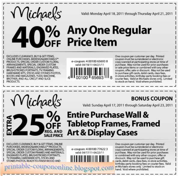 Michaels Craft Online Coupons