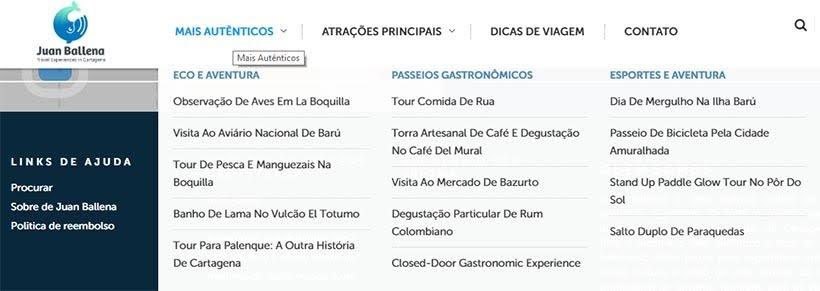 Serviços oferecidos pela Juan Ballena - Receptivo em Cartagena