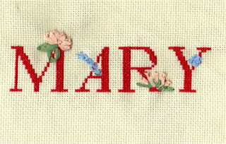 add ribbon embroidery stitches to cross stitch alphabets