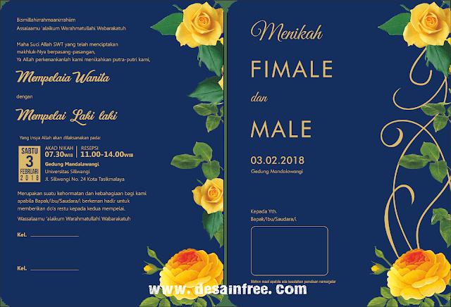 Desain Undangan Pernikahan Elegan Nuansa Biru Dongker Format CDR
