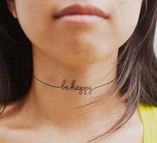 be happy neck tattoo
