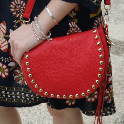 navy swing dress, Rebecca Minkoff unlined saddle bag in cherry red | away from the blue
