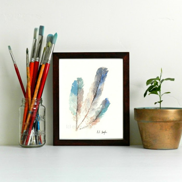 Giclee Watercolor Feathers Print, 8x10