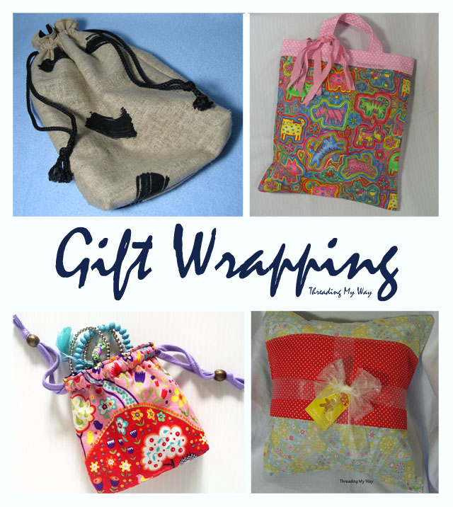 Make reusable gift wrapping from fabric scraps ~ Threading My Way