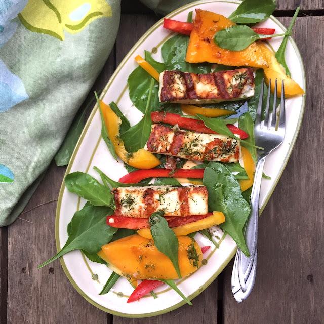 Recipe for Grilled Paneer Salad with Spinach  & Mango