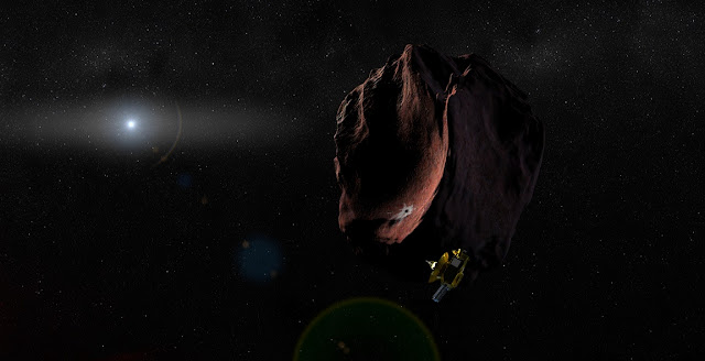 Artist's impression of the New Horizons spacecraft encountering a Kuiper Belt Object, as part of an extended mission after the Pluto flyby. Image Credit: Johns Hopkins University Applied Physics Laboratory/Southwest Research Institute (JHUAPL/SwRI)