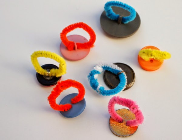easy to make kids button ring jewelery craft