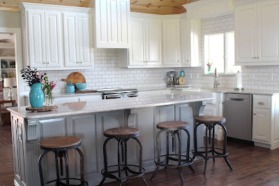 Kithcen remodel with custom cabinets, beveled subway tile and Cambria Berwyn quartz
