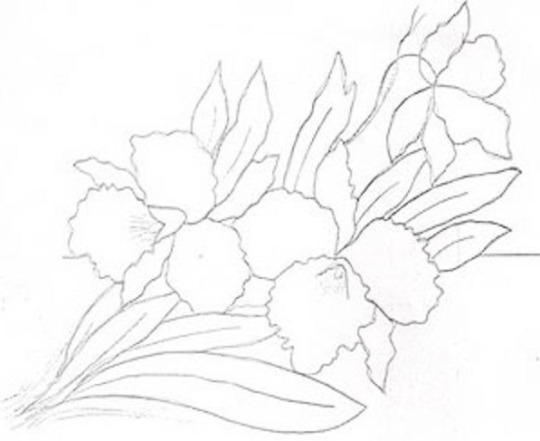risco para pintura em tecido pano de prato orquidea