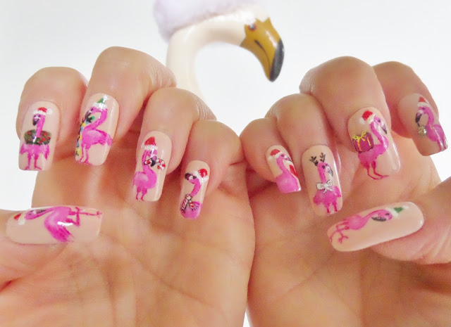 christmas flamingo nail designs